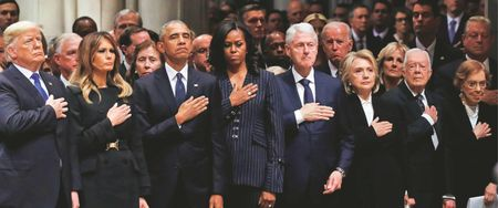 ALL THE LIVING U.S. PRESIDENTS HONOUR EX-PRESIDENT GEORGE H.W. BUSH AT HIS POIGNANT AND AT TIMES FUNNY STATE FUNERAL IN WASHINGTON