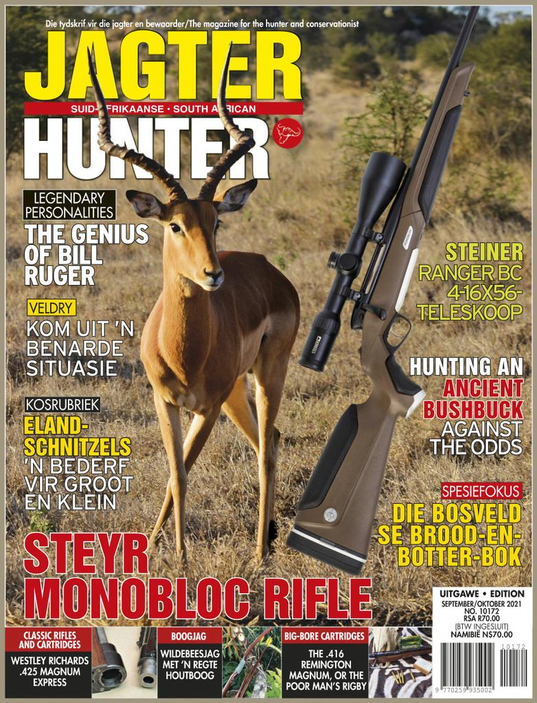 S.A. jagter amptelike tydskrif van die S.A. Jagters en Wildbewaringsvereniging = S.A. hunter : official journal of the S.A. Hunters' and Game Conservation Association cover image