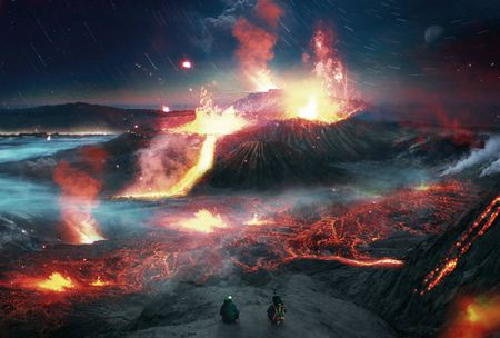 Create a volcanic landscape