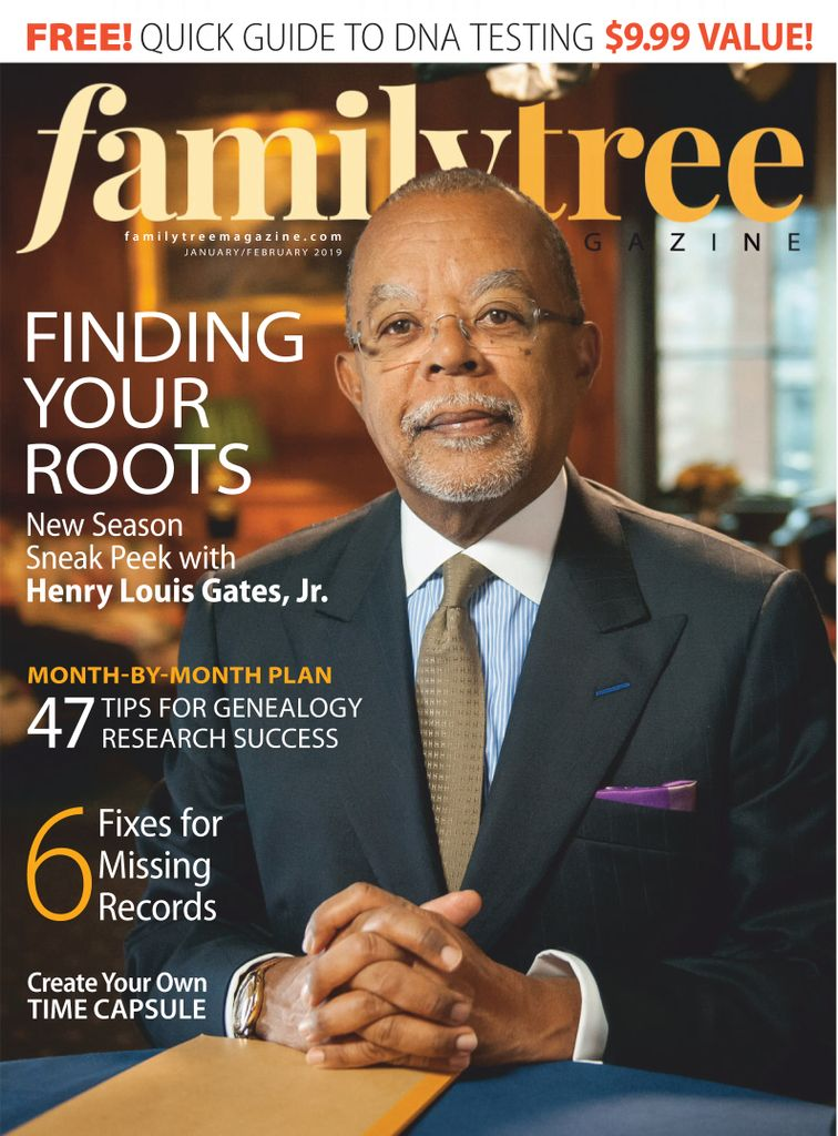 "Image of magazine cover with a photo of black adult male in a suit in an office setting. Text reads ""Familytree - Finding Your Roots"